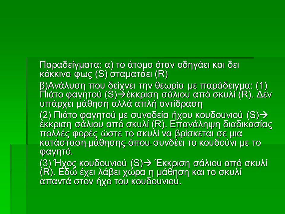 Παραδείγματα: α) το άτομο όταν οδηγάει και δει κόκκινο φως (S) σταματάει (R) Παραδείγματα: α) το άτομο όταν οδηγάει και δει κόκκινο φως (S) σταματάει (R) β)Ανάλυση που δείχνει την θεωρία με παράδειγμα: (1) Πιάτο φαγητού (S)  έκκριση σάλιου από σκυλί (R).