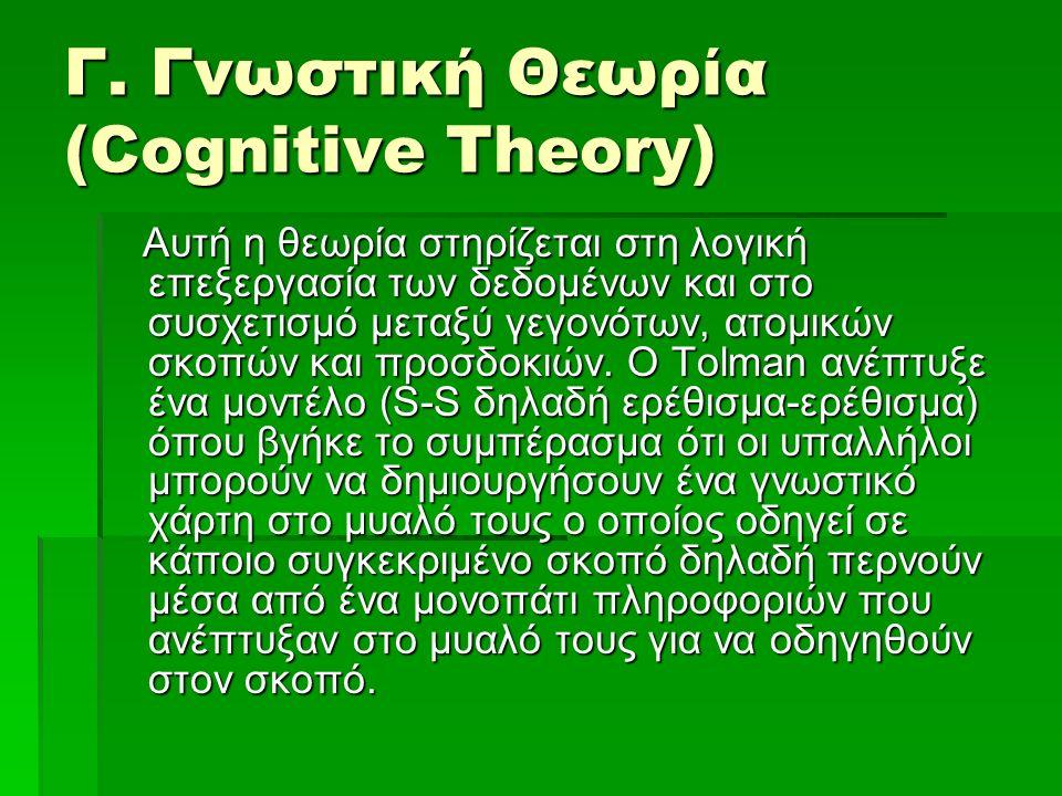 Γ. Γνωστική Θεωρία (Cognitive Theory) Αυτή η θεωρία στηρίζεται στη λογική επεξεργασία των δεδομένων και στο συσχετισμό μεταξύ γεγονότων, ατομικών σκοπ