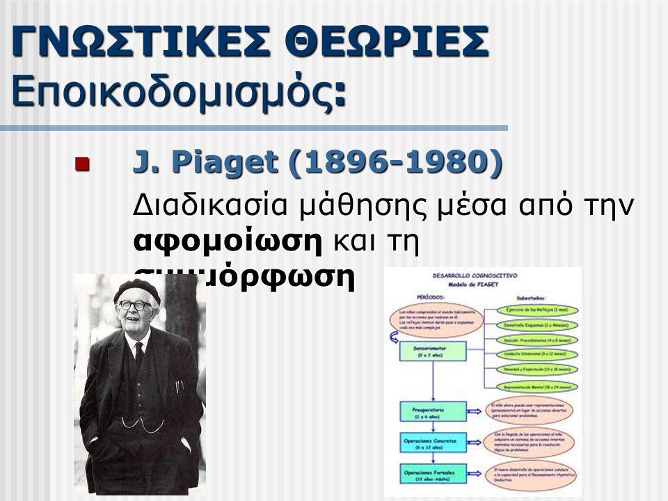 J. Piaget (1896-1980) J. Piaget (1896-1980) Διαδικασία μάθησης μέσα από την αφομοίωση και τη συμμόρφωση ΓΝΩΣΤΙΚΕΣ ΘΕΩΡΙΕΣ Εποικοδομισμός: