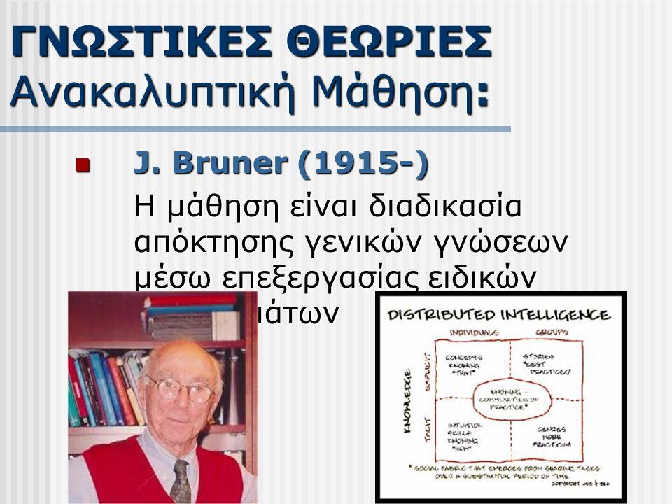 J. Bruner (1915-) J. Bruner (1915-) Η μάθηση είναι διαδικασία απόκτησης γενικών γνώσεων μέσω επεξεργασίας ειδικών προβλημάτων ΓΝΩΣΤΙΚΕΣ ΘΕΩΡΙΕΣ Ανακαλ