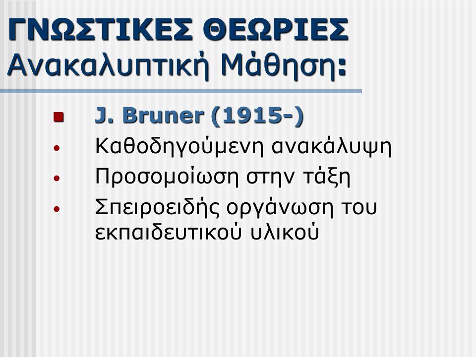 J. Bruner (1915-) J. Bruner (1915-) Καθοδηγούμενη ανακάλυψη Καθοδηγούμενη ανακάλυψη Προσομοίωση στην τάξη Προσομοίωση στην τάξη Σπειροειδής οργάνωση τ