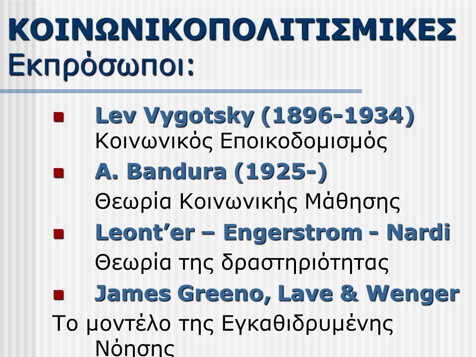 Lev Vygotsky (1896-1934) Κοινωνικός Εποικοδομισμός Lev Vygotsky (1896-1934) Κοινωνικός Εποικοδομισμός Α. Bandura (1925-) Α. Bandura (1925-) Θεωρία Κοι