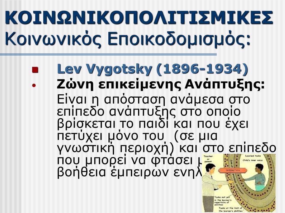 Lev Vygotsky (1896-1934) Lev Vygotsky (1896-1934) Ζώνη επικείμενης Ανάπτυξης: Είναι η απόσταση ανάμεσα στο επίπεδο ανάπτυξης στο οποίο βρίσκεται το παιδί και που έχει πετύχει μόνο του (σε μια γνωστική περιοχή) και στο επίπεδο που μπορεί να φτάσει με τη βοήθεια έμπειρων ενηλίκων ΚΟΙΝΩΝΙΚΟΠΟΛΙΤΙΣΜΙΚΕΣ Κοινωνικός Εποικοδομισμός: