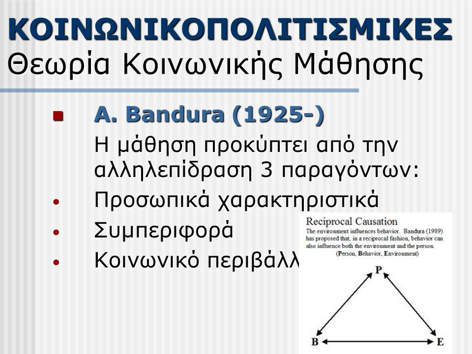 Α. Bandura (1925-) Α. Bandura (1925-) Η μάθηση προκύπτει από την αλληλεπίδραση 3 παραγόντων: Προσωπικά χαρακτηριστικά Προσωπικά χαρακτηριστικά Συμπερι