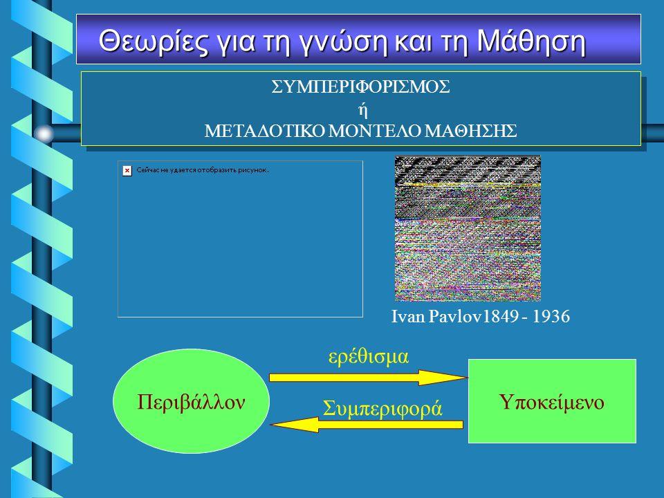 ΣΥΜΠΕΡΙΦΟΡΙΣΜΟΣ ή ΜΕΤΑΔΟΤΙΚΟ ΜΟΝΤΕΛΟ ΜΑΘΗΣΗΣ ΣΥΜΠΕΡΙΦΟΡΙΣΜΟΣ ή ΜΕΤΑΔΟΤΙΚΟ ΜΟΝΤΕΛΟ ΜΑΘΗΣΗΣ Θεωρίες για τη γνώση και τη Μάθηση Ivan Pavlov1849 - 1936 Υποκείμενο Περιβάλλον ερέθισμα Συμπεριφορά
