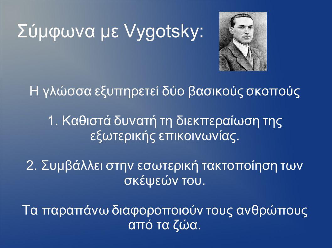 Σύμφωνα με Vygotsky: Η γλώσσα εξυπηρετεί δύο βασικούς σκοπούς 1. Καθιστά δυνατή τη διεκπεραίωση της εξωτερικής επικοινωνίας. 2. Συμβάλλει στην εσωτερι