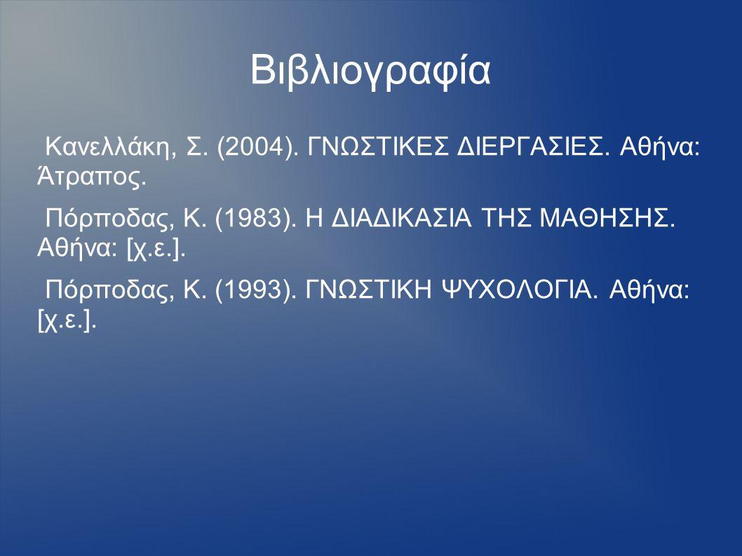 Βιβλιογραφία Κανελλάκη, Σ. (2004). ΓΝΩΣΤΙΚΕΣ ΔΙΕΡΓΑΣΙΕΣ. Αθήνα: Άτραπος. Πόρποδας, Κ. (1983). Η ΔΙΑΔΙΚΑΣΙΑ ΤΗΣ ΜΑΘΗΣΗΣ. Αθήνα: [χ.ε.]. Πόρποδας, Κ. (1