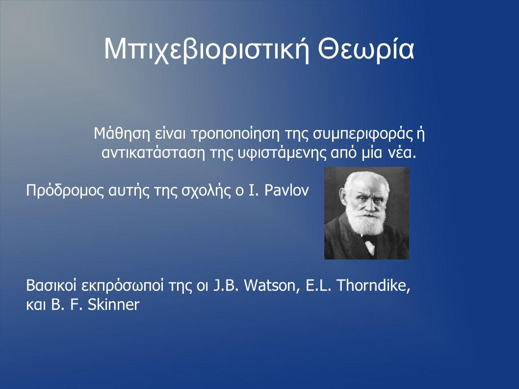 Μπιχεβιοριστική Θεωρία Μάθηση είναι τροποποίηση της συμπεριφοράς ή αντικατάσταση της υφιστάμενης από μία νέα. Πρόδρομος αυτής της σχολής ο I. Pavlov Β