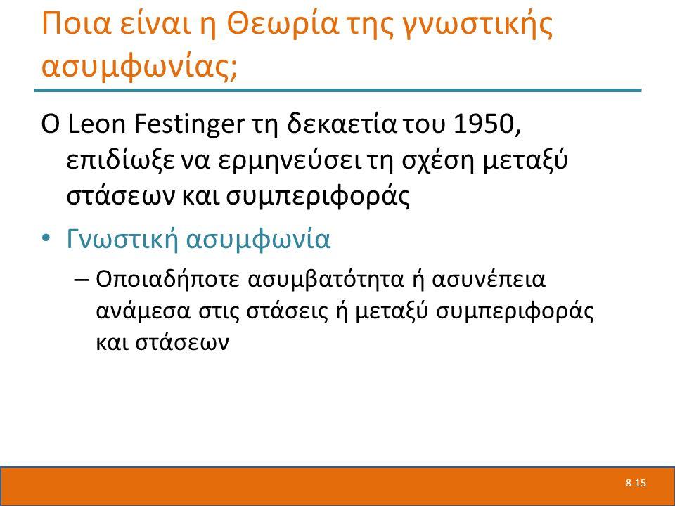 8-15 Ποια είναι η Θεωρία της γνωστικής ασυμφωνίας; Ο Leon Festinger τη δεκαετία του 1950, επιδίωξε να ερμηνεύσει τη σχέση μεταξύ στάσεων και συμπεριφοράς Γνωστική ασυμφωνία – Οποιαδήποτε ασυμβατότητα ή ασυνέπεια ανάμεσα στις στάσεις ή μεταξύ συμπεριφοράς και στάσεων