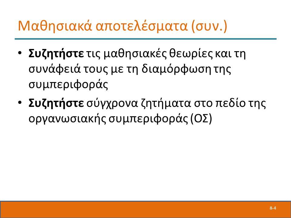 8-4 Μαθησιακά αποτελέσματα (συν.) Συζητήστε τις μαθησιακές θεωρίες και τη συνάφειά τους με τη διαμόρφωση της συμπεριφοράς Συζητήστε σύγχρονα ζητήματα στο πεδίο της οργανωσιακής συμπεριφοράς (ΟΣ)