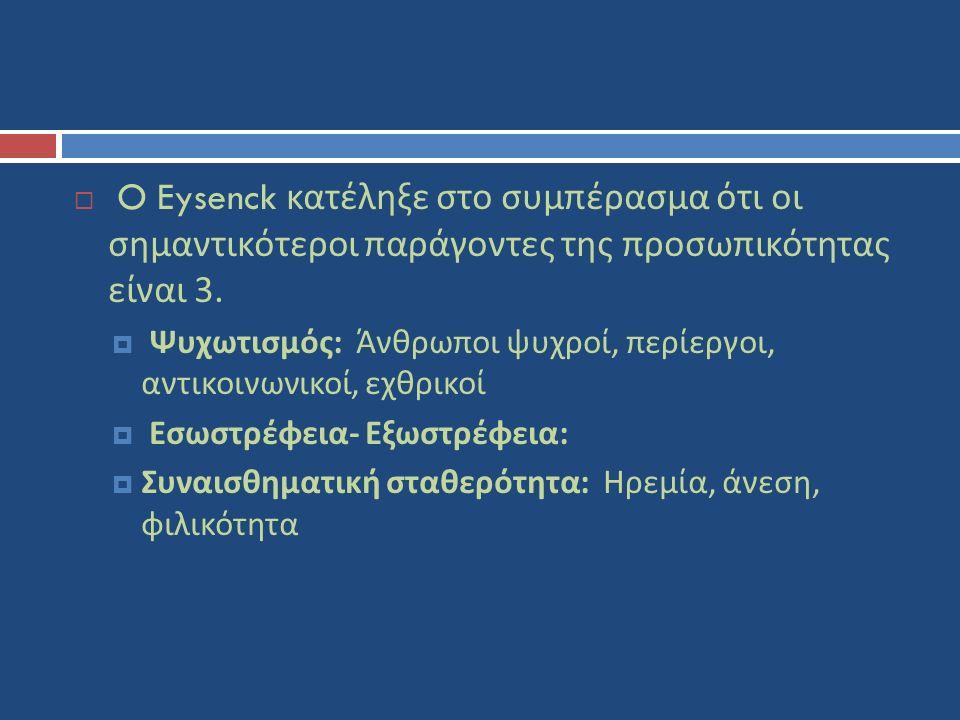  O Eysenck κατέληξε στο συμπέρασμα ότι οι σημαντικότεροι παράγοντες της προσωπικότητας είναι 3.  Ψυχωτισμός : Άνθρωποι ψυχροί, περίεργοι, αντικοινων