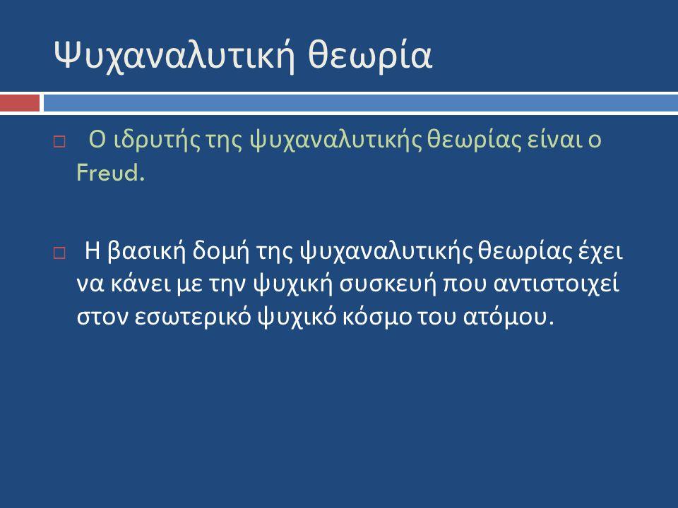Ψυχαναλυτική θεωρία  Ο ιδρυτής της ψυχαναλυτικής θεωρίας είναι ο Freud.
