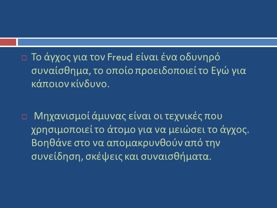  Το άγχος για τον Freud είναι ένα οδυνηρό συναίσθημα, το οποίο προειδοποιεί το Εγώ για κάποιον κίνδυνο.  Μηχανισμοί άμυνας είναι οι τεχνικές που χρη