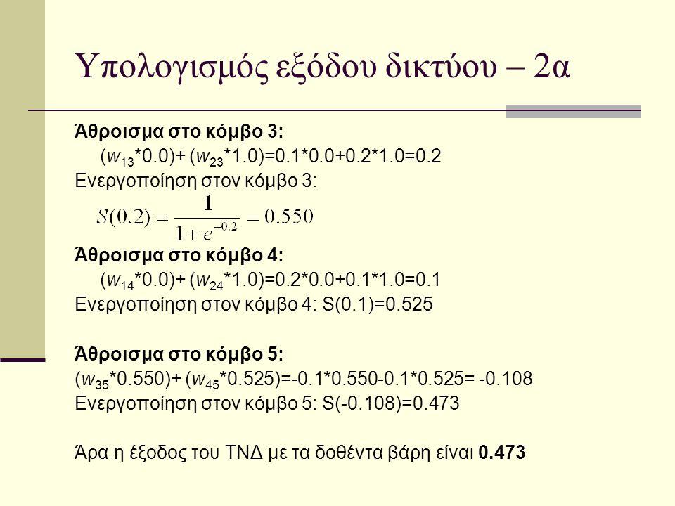 Υπολογισμός εξόδου δικτύου – 2α Άθροισμα στο κόμβο 3: (w 13 *0.0)+ (w 23 *1.0)=0.1*0.0+0.2*1.0=0.2 Ενεργοποίηση στον κόμβο 3: Άθροισμα στο κόμβο 4: (w 14 *0.0)+ (w 24 *1.0)=0.2*0.0+0.1*1.0=0.1 Ενεργοποίηση στον κόμβο 4: S(0.1)=0.525 Άθροισμα στο κόμβο 5: (w 35 *0.550)+ (w 45 *0.525)=-0.1*0.550-0.1*0.525= -0.108 Ενεργοποίηση στον κόμβο 5: S(-0.108)=0.473 Άρα η έξοδος του ΤΝΔ με τα δοθέντα βάρη είναι 0.473