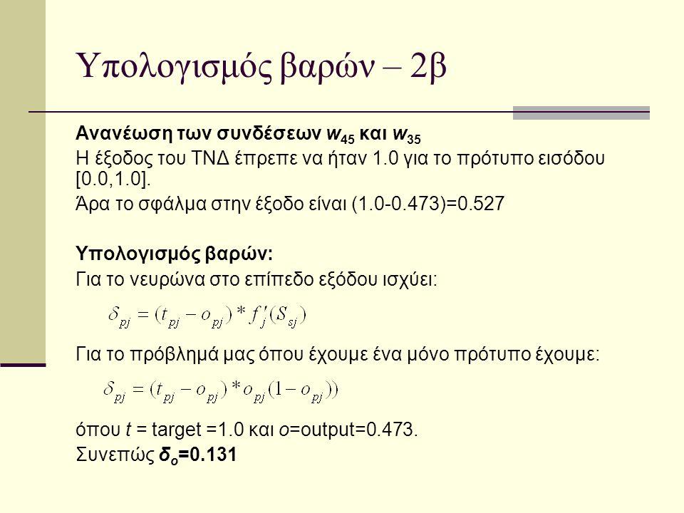 Υπολογισμός βαρών – 2β Ανανέωση των συνδέσεων w 45 και w 35 Η έξοδος του ΤΝΔ έπρεπε να ήταν 1.0 για το πρότυπο εισόδου [0.0,1.0]. Άρα το σφάλμα στην έ