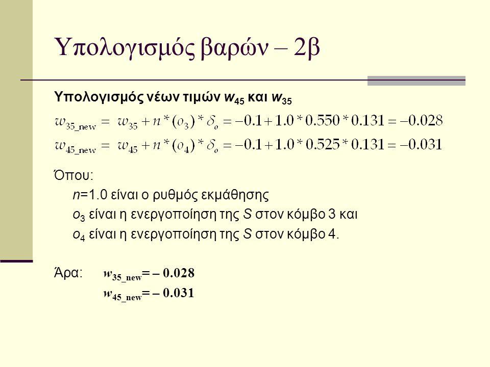 Υπολογισμός βαρών – 2β Υπολογισμός νέων τιμών w 45 και w 35 Όπου: n=1.0 είναι ο ρυθμός εκμάθησης ο 3 είναι η ενεργοποίηση της S στον κόμβο 3 και ο 4 ε