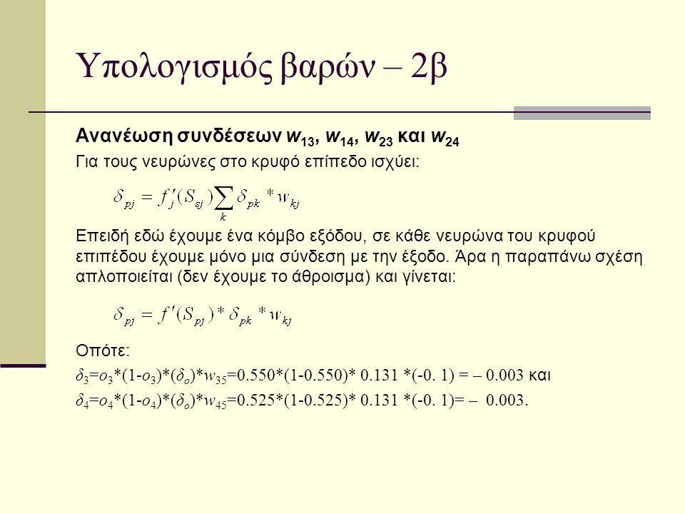 Υπολογισμός βαρών – 2β Ανανέωση συνδέσεων w 13, w 14, w 23 και w 24 Για τους νευρώνες στο κρυφό επίπεδο ισχύει: Επειδή εδώ έχουμε ένα κόμβο εξόδου, σε
