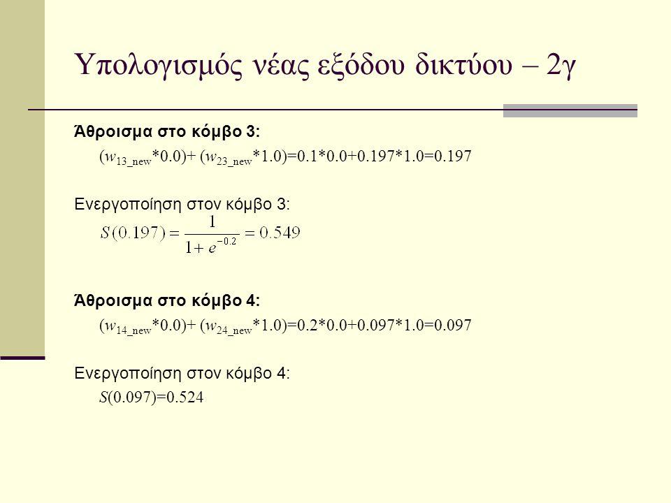 Υπολογισμός νέας εξόδου δικτύου – 2γ Άθροισμα στο κόμβο 3: (w 13_new *0.0)+ (w 23_new *1.0)=0.1*0.0+0.197*1.0=0.197 Ενεργοποίηση στον κόμβο 3: Άθροισμ