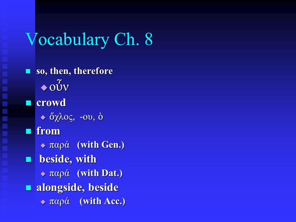 Chapter 13 Vocabulary ἀ νήρ, ἀ νδρός, ὁ ἀ νήρ, ἀ νδρός, ὁ  man, husband βασιλεύς, - ἐ ως, ὁ βασιλεύς, - ἐ ως, ὁ  king δύναμις, -εως, ἡ δύναμις, -εως, ἡ  power, miracle ὄ νομα, -ματος, τό ὄ νομα, -ματος, τό  name π ᾶ ς, π ᾶ σα, π ᾶ ν π ᾶ ς, π ᾶ σα, π ᾶ ν  each, every, all