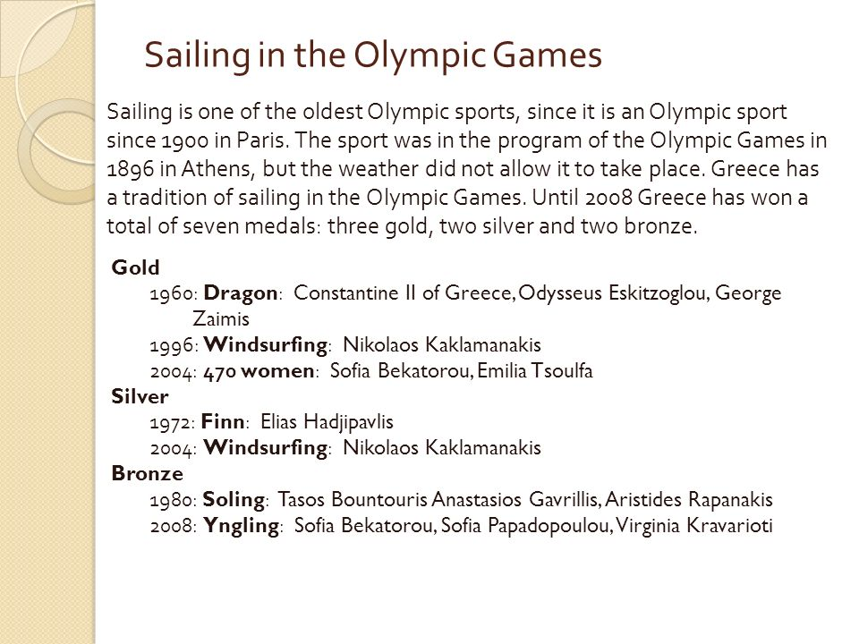 Sailing in the Olympic Games Sailing is one of the oldest Olympic sports, since it is an Olympic sport since 1900 in Paris.