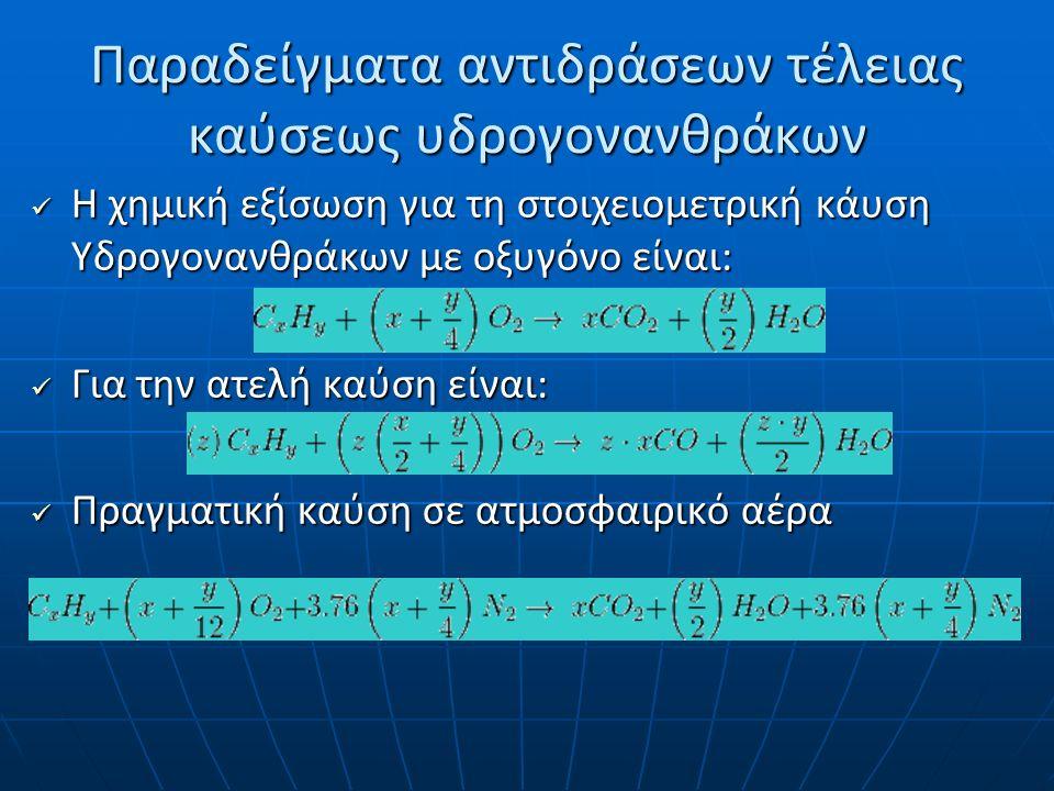 Παραδείγματα αντιδράσεων τέλειας καύσης υδρογονανθράκων CΗ 4 + 2Ο 2 → CΟ 2 + 2H 2 O + Q CΗ 4 + 2Ο 2 → CΟ 2 + 2H 2 O + Q C 2 Η 6 + 7/2Ο 2 → 2CΟ 2 + 3H 2 O + Q C 2 Η 6 + 7/2Ο 2 → 2CΟ 2 + 3H 2 O + Q C 3 Η 8 + 5Ο 2 → 3CΟ 2 + 4H 2 O + Q C 3 Η 8 + 5Ο 2 → 3CΟ 2 + 4H 2 O + Q C 4 Η 10 + 13/2Ο 2 → 4CΟ 2 + 5H 2 O + Q C 4 Η 10 + 13/2Ο 2 → 4CΟ 2 + 5H 2 O + Q
