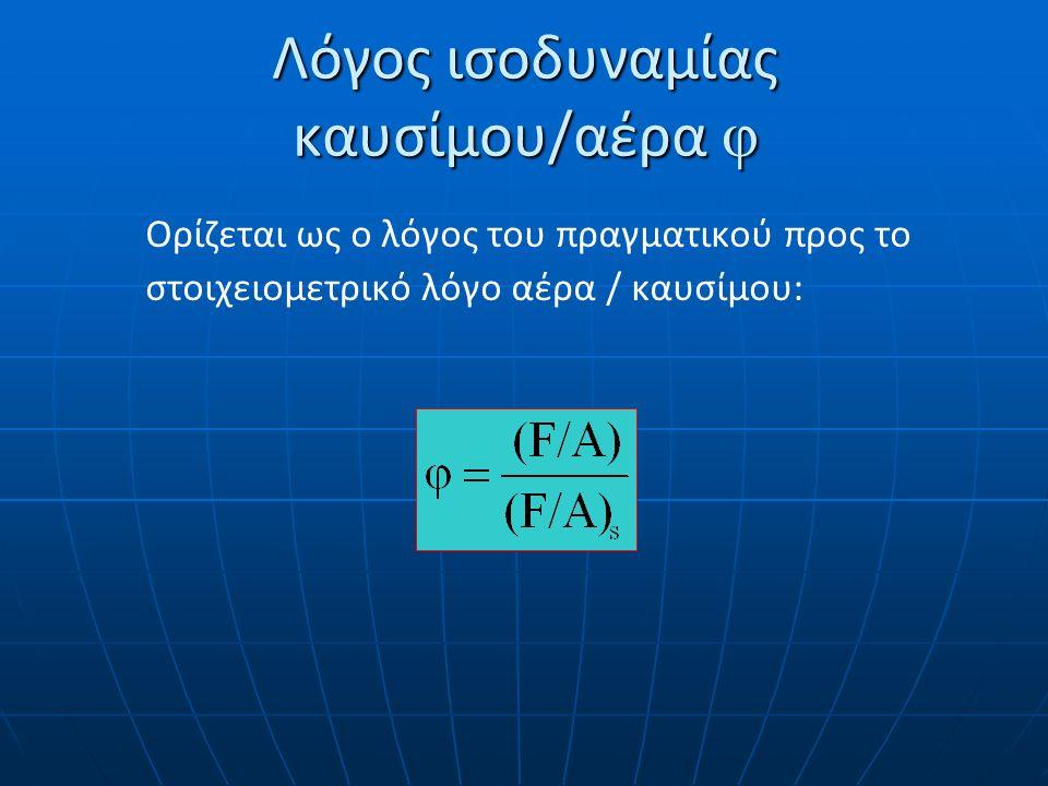 Λόγος ισοδυναμίας καυσίμου/αέρα φ Ορίζεται ως ο λόγος του πραγματικού προς το στοιχειομετρικό λόγο αέρα / καυσίμου: