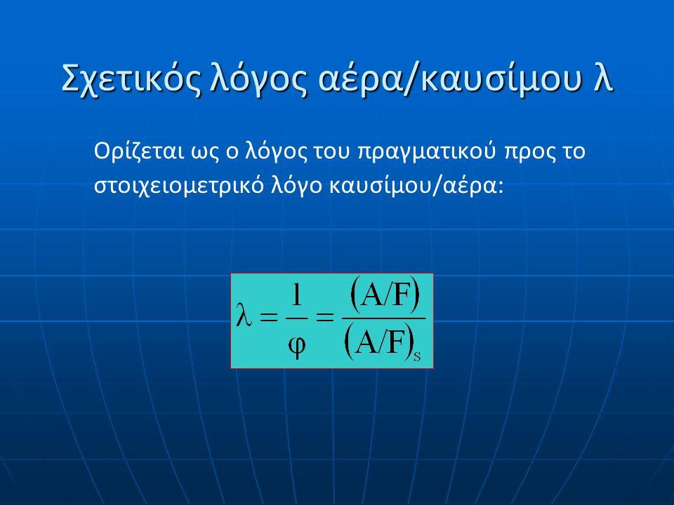 Διάκριση μιγμάτων Φτωχά μίγματα Φτωχά μίγματα εκείνα στα οποία ισχύει φ 1 (περίσσεια οξυγόνου) εκείνα στα οποία ισχύει φ 1 (περίσσεια οξυγόνου) Πλούσια μίγματα Πλούσια μίγματα εκείνα στα οποία ισχύει φ>1 ή λ 1 ή λ<1 (περίσσεια καυσίμου) Στοιχειομετρικά μίγματα Στοιχειομετρικά μίγματα εκείνα στα οποία ισχύει φ=λ=1.