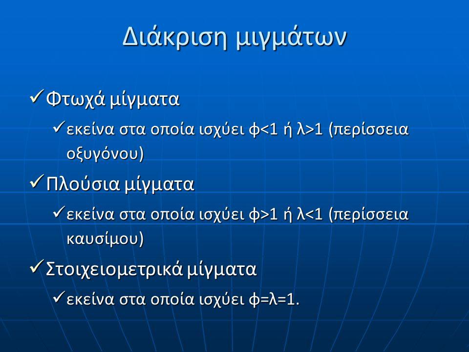 Διάκριση μιγμάτων Φτωχά μίγματα Φτωχά μίγματα εκείνα στα οποία ισχύει φ 1 (περίσσεια οξυγόνου) εκείνα στα οποία ισχύει φ 1 (περίσσεια οξυγόνου) Πλούσι