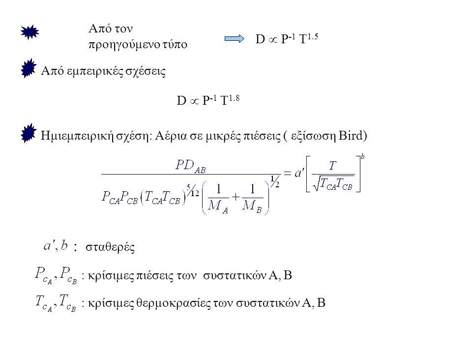 Από εμπειρικές σχέσεις D  Ρ -1 Τ 1.8 Ημιεμπειρική σχέση: Αέρια σε μικρές πιέσεις ( εξίσωση Bird) : σταθερές : κρίσιμες πιέσεις των συστατικών Α, Β : κρίσιμες θερμοκρασίες των συστατικών Α, Β D  Ρ -1 Τ 1.5 Από τον προηγούμενο τύπο
