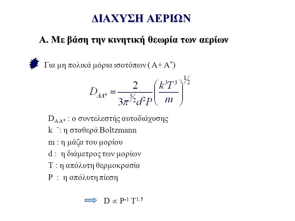 ΔΙΑΧΥΣΗ ΑΕΡΙΩΝ Για μη πολικά μόρια ισοτόπων ( Α+ Α * ) D A A* : ο συντελεστής αυτοδιάχυσης k ¨: η σταθερά Boltzmann m : η μάζα του μορίου d : η διάμετρος των μορίων Τ : η απόλυτη θερμοκρασία P : η απόλυτη πίεση D  Ρ -1 Τ 1.5 Α.