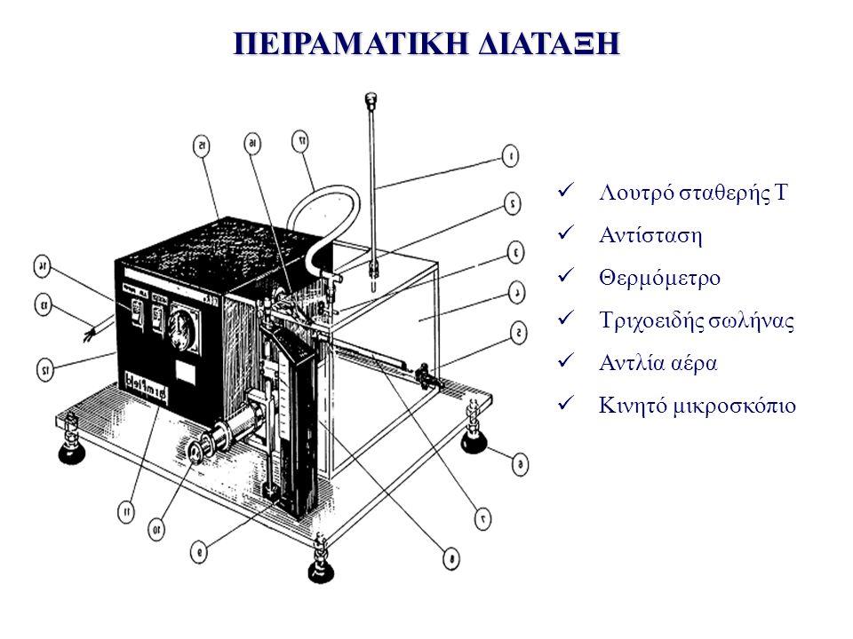 ΠΕΙΡΑΜΑΤΙΚΗ ΔΙΑΤΑΞΗ Λουτρό σταθερής Τ Αντίσταση Θερμόμετρο Τριχοειδής σωλήνας Αντλία αέρα Κινητό μικροσκόπιο