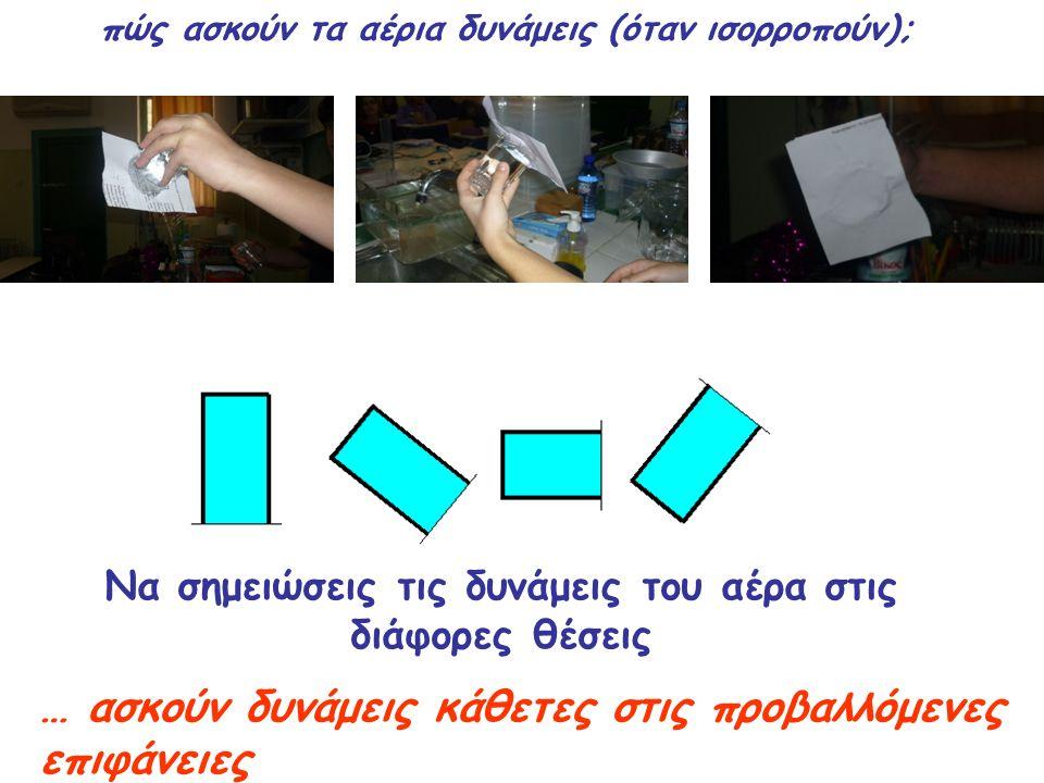 πώς ασκούν τα αέρια δυνάμεις (όταν ισορροπούν); Να σημειώσεις τις δυνάμεις του αέρα στις διάφορες θέσεις … ασκούν δυνάμεις κάθετες στις προβαλλόμενες επιφάνειες