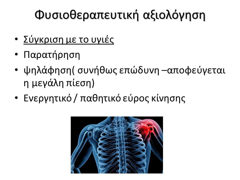 Φυσιοθεραπευτική αξιολόγηση Σύγκριση με το υγιές Παρατήρηση ψηλάφηση( συνήθως επώδυνη –αποφεύγεται η μεγάλη πίεση) Ενεργητικό / παθητικό εύρος κίνησης
