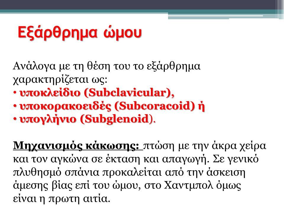 Εξάρθρημα ώμου Ανάλογα με τη θέση του το εξάρθρημα χαρακτηρίζεται ως: υποκλείδιο (Subclavicular), υποκορακοειδές (Subcoracoid) ή υποκορακοειδές (Subco
