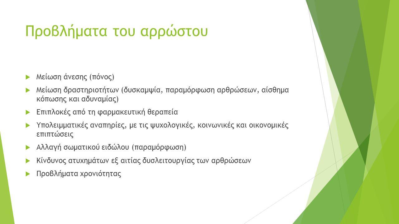 Προβλήματα του αρρώστου  Μείωση άνεσης (πόνος)  Μείωση δραστηριοτήτων (δυσκαμψία, παραμόρφωση αρθρώσεων, αίσθημα κόπωσης και αδυναμίας)  Επιπλοκές
