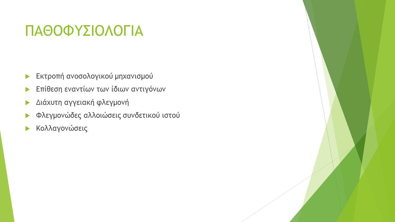 Συμπτώματα  Από ήπια μέχρι βαρία και απειλητική για την ζωή  Εύκολη κόπωση, αδιαθεσία, πυρετός  Ευκαιριακές λοιμώξεις του αναπνευστικού και ουροποιητικού  Αρθραλγίες (ερυρθρότητα,θερμότητα,οίδημα), Μυαλγίες  Πλευροδυνία,πλευριτικό υγρό  Περικαρδίτιδα - μυοκαρδίτιδα