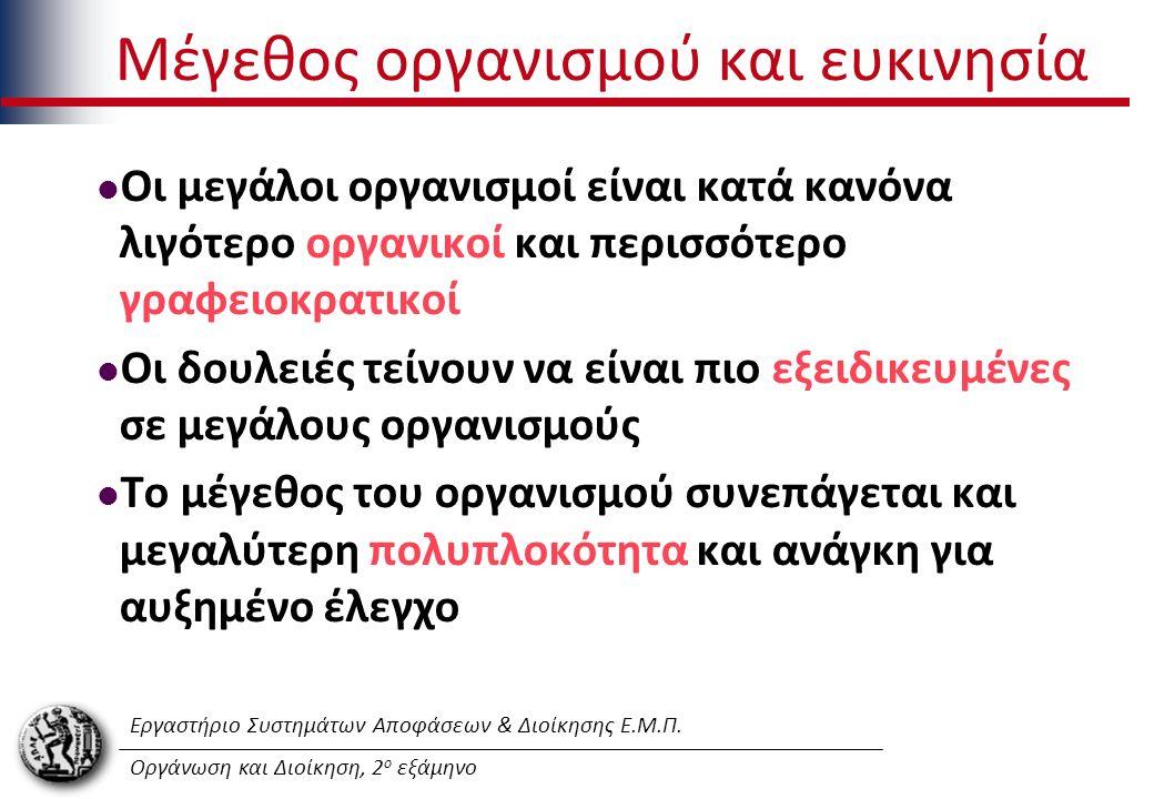 Εργαστήριο Συστημάτων Αποφάσεων & Διοίκησης Ε.Μ.Π. Οργάνωση και Διοίκηση, 2 ο εξάμηνο Μέγεθος οργανισμού και ευκινησία Οι μεγάλοι οργανισμοί είναι κατ