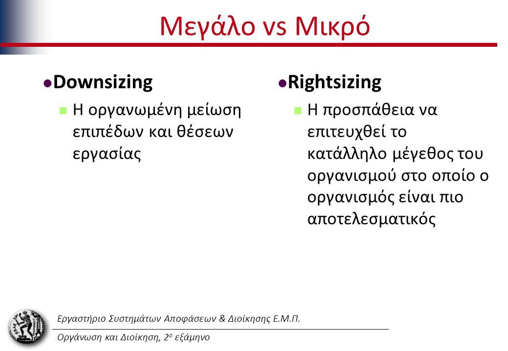 Εργαστήριο Συστημάτων Αποφάσεων & Διοίκησης Ε.Μ.Π. Οργάνωση και Διοίκηση, 2 ο εξάμηνο Μεγάλο vs Μικρό Downsizing Η οργανωμένη μείωση επιπέδων και θέσε