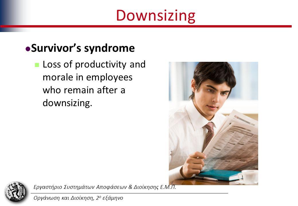 Εργαστήριο Συστημάτων Αποφάσεων & Διοίκησης Ε.Μ.Π. Οργάνωση και Διοίκηση, 2 ο εξάμηνο Downsizing Survivor's syndrome Loss of productivity and morale i