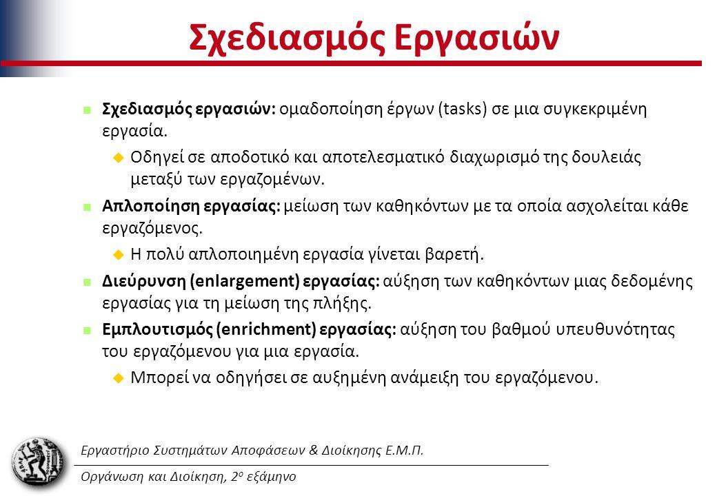 Εργαστήριο Συστημάτων Αποφάσεων & Διοίκησης Ε.Μ.Π. Οργάνωση και Διοίκηση, 2 ο εξάμηνο Σχεδιασμός Εργασιών Σχεδιασμός εργασιών: oμαδοποίηση έργων (task