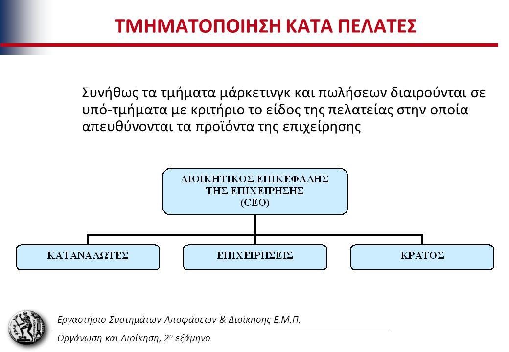Εργαστήριο Συστημάτων Αποφάσεων & Διοίκησης Ε.Μ.Π. Οργάνωση και Διοίκηση, 2 ο εξάμηνο ΤΜΗΜΑΤΟΠΟΙΗΣΗ ΚΑΤΑ ΠΕΛΑΤΕΣ Συνήθως τα τμήματα μάρκετινγκ και πωλ