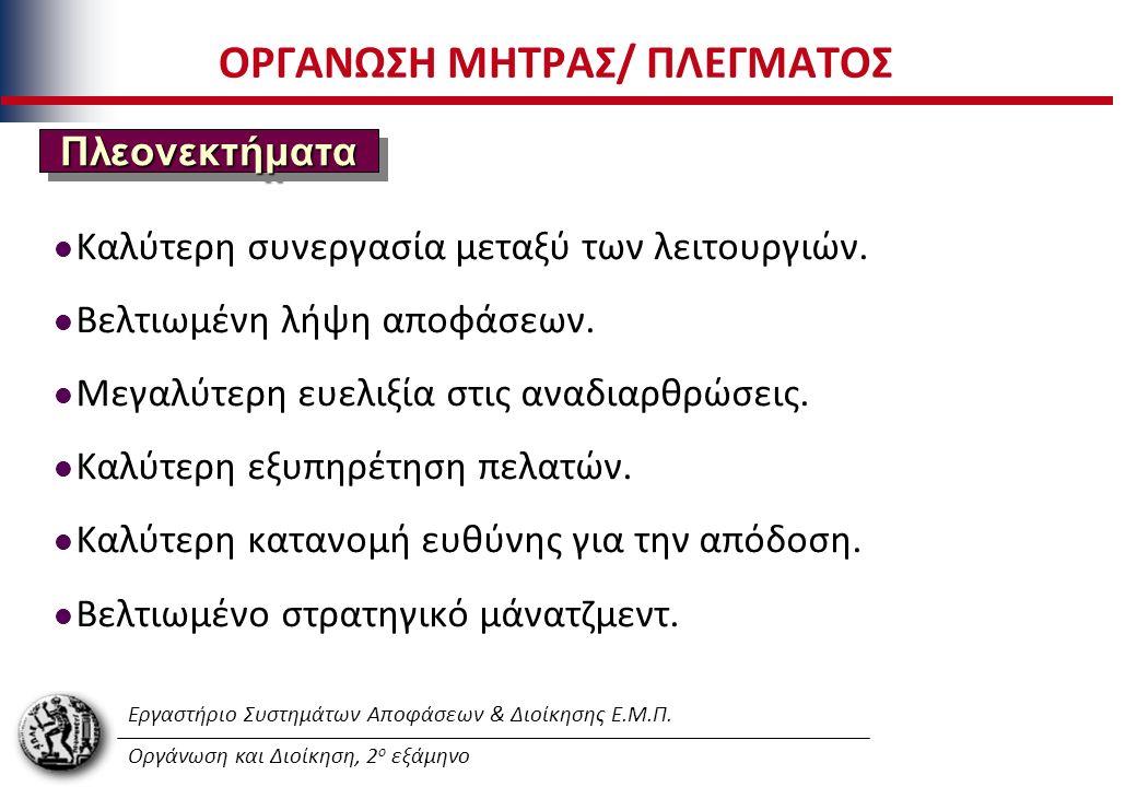 Εργαστήριο Συστημάτων Αποφάσεων & Διοίκησης Ε.Μ.Π. Οργάνωση και Διοίκηση, 2 ο εξάμηνο ΟΡΓΑΝΩΣΗ ΜΗΤΡΑΣ/ ΠΛΕΓΜΑΤΟΣ Καλύτερη συνεργασία μεταξύ των λειτου