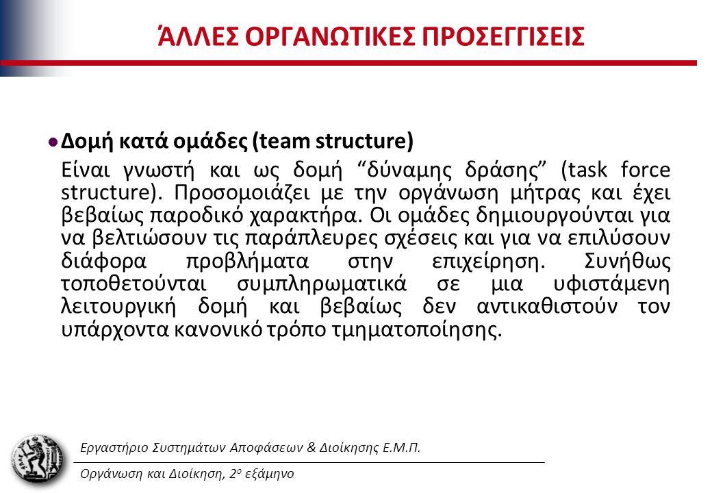 Εργαστήριο Συστημάτων Αποφάσεων & Διοίκησης Ε.Μ.Π. Οργάνωση και Διοίκηση, 2 ο εξάμηνο ΆΛΛΕΣ ΟΡΓΑΝΩΤΙΚΕΣ ΠΡΟΣΕΓΓΙΣΕΙΣ Δομή κατά ομάδες (team structure)
