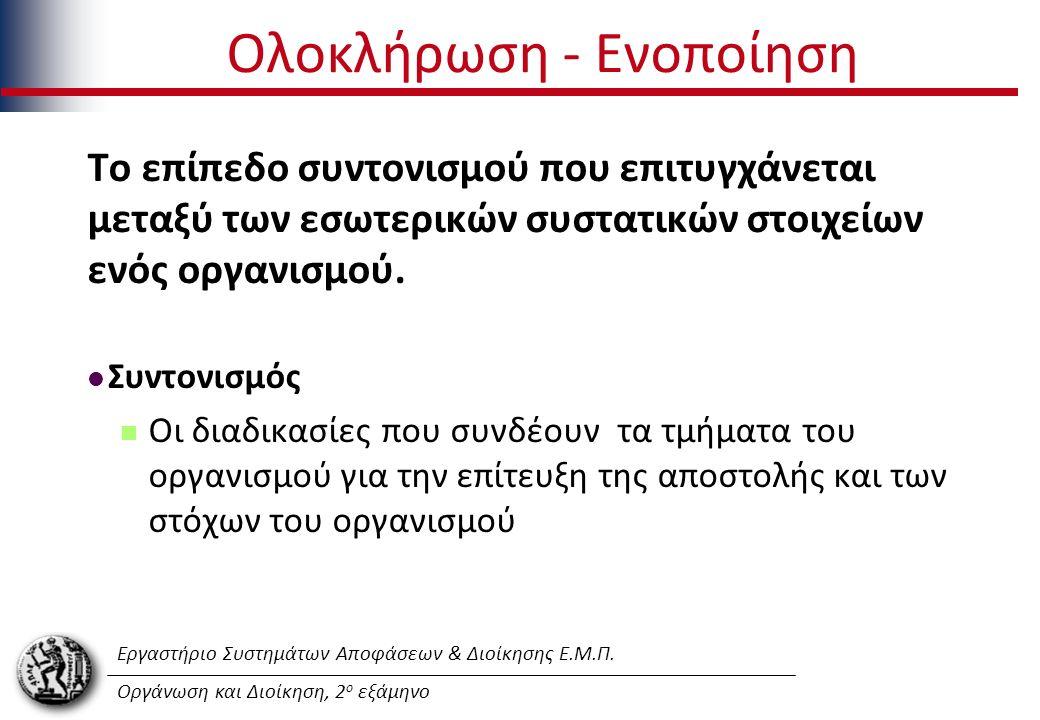 Εργαστήριο Συστημάτων Αποφάσεων & Διοίκησης Ε.Μ.Π. Οργάνωση και Διοίκηση, 2 ο εξάμηνο Ολοκλήρωση - Ενοποίηση Το επίπεδο συντονισμού που επιτυγχάνεται