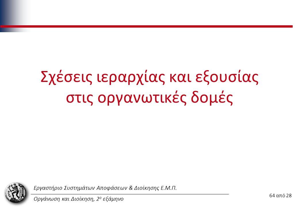 Εργαστήριο Συστημάτων Αποφάσεων & Διοίκησης Ε.Μ.Π. Οργάνωση και Διοίκηση, 2 ο εξάμηνο Σχέσεις ιεραρχίας και εξουσίας στις οργανωτικές δομές 64 από 28