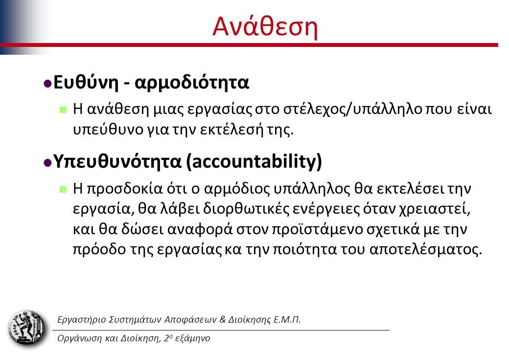 Εργαστήριο Συστημάτων Αποφάσεων & Διοίκησης Ε.Μ.Π. Οργάνωση και Διοίκηση, 2 ο εξάμηνο Ανάθεση Ευθύνη - αρμοδιότητα Η ανάθεση μιας εργασίας στο στέλεχο