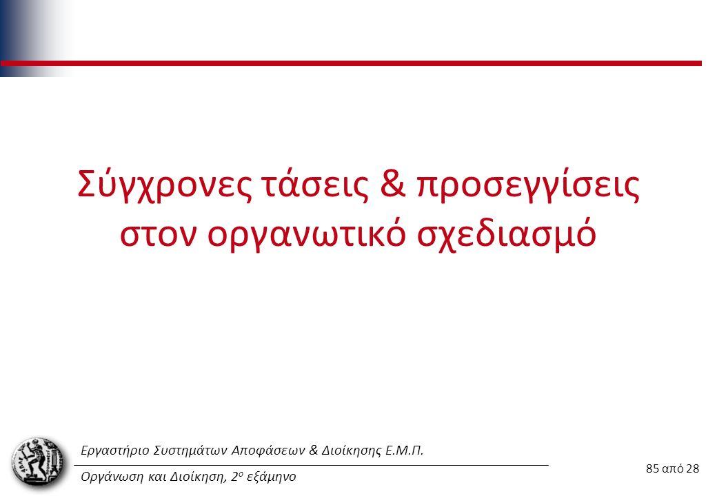 Εργαστήριο Συστημάτων Αποφάσεων & Διοίκησης Ε.Μ.Π. Οργάνωση και Διοίκηση, 2 ο εξάμηνο Σύγχρονες τάσεις & προσεγγίσεις στον οργανωτικό σχεδιασμό 85 από