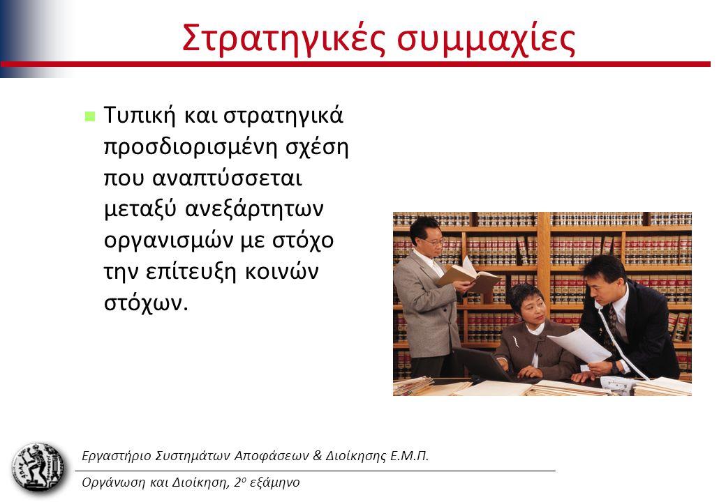 Εργαστήριο Συστημάτων Αποφάσεων & Διοίκησης Ε.Μ.Π. Οργάνωση και Διοίκηση, 2 ο εξάμηνο Στρατηγικές συμμαχίες Τυπική και στρατηγικά προσδιορισμένη σχέση