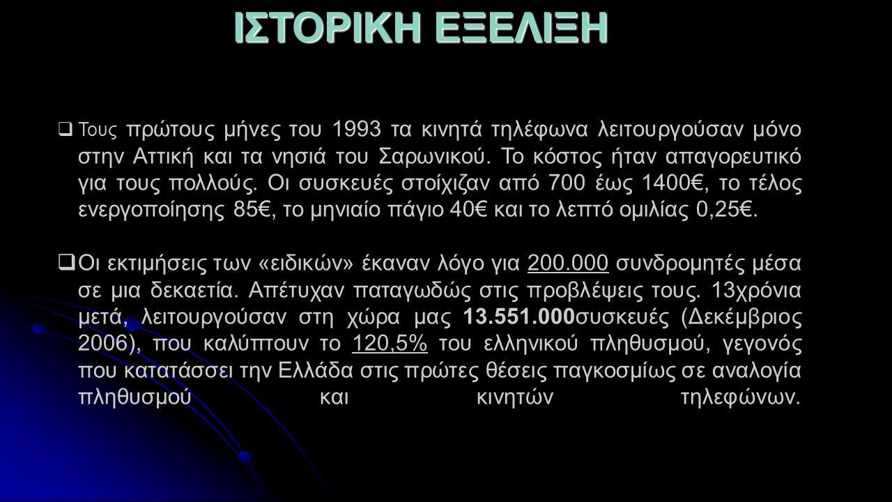 IΣΤΟΡΙΚΗ ΕΞΕΛΙΞΗ  Τους πρώτους μήνες του 1993 τα κινητά τηλέφωνα λειτουργούσαν μόνο στην Αττική και τα νησιά του Σαρωνικού. Το κόστος ήταν απαγορευτι