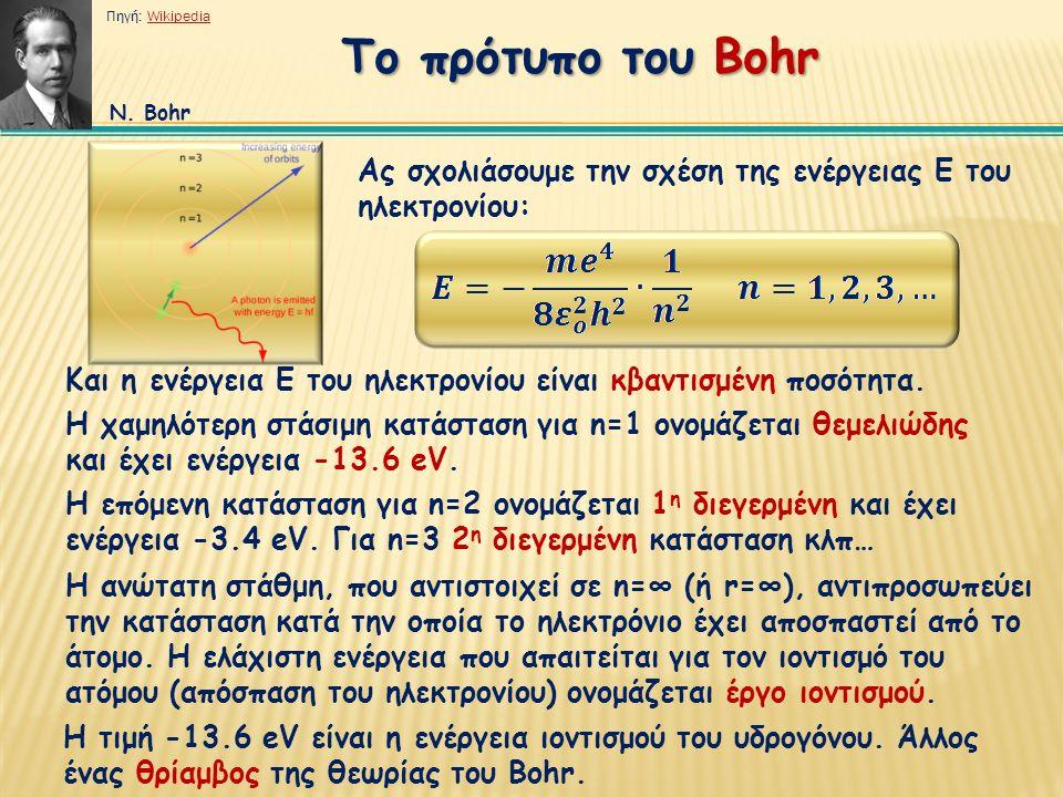Ας σχολιάσουμε την σχέση της ενέργειας Ε του ηλεκτρονίου: Και η ενέργεια Ε του ηλεκτρονίου είναι κβαντισμένη ποσότητα.